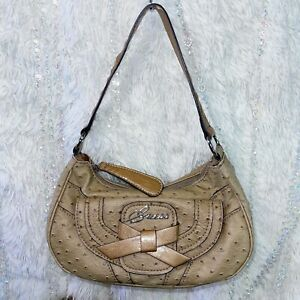 GUESS Tan Ostrich Faux Leather Purse Hobo Style Bag Lined Zip Handbag Silver