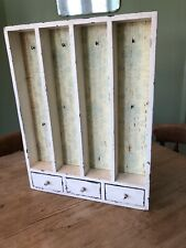 SHABBY CHIC WOODEN VINTAGE SHELF UNIT WITH DRAWER 3 KEY HOOKS STORAGE