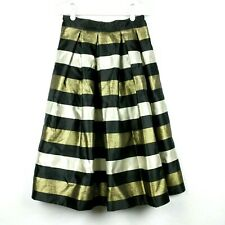 NEW WHBM Sz 4 Midi Skirt Gold Black Silver Stripe Pleated Pockets Holiday