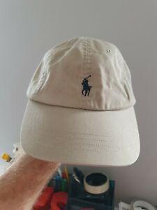 Polo Ralph Lauren Classic Mens Baseball Cap Beige With Blue Logo Dad Hat Skater