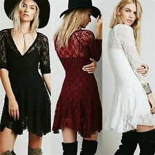 3/4 Sleeve Cinched Waist V-neck Women's Lace Prom Party Fit Flare Dress Unlined