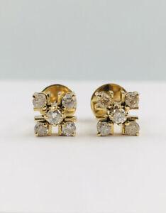 Estate 18k Yellow Gold .50ct Round Diamond Cluster Flower Design Post Earrings