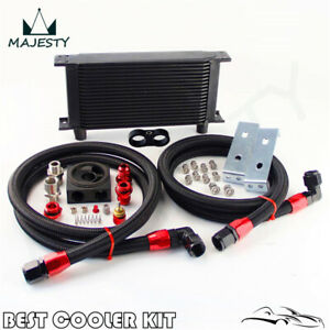 Universal AN10 19 Row Oil Cooler Kit+Thermostat Sandwich Plate Kit With Bracket