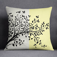 S4Sassy Tree Printed Yellow Throw Cushion Case Decorative Square Pillow Cover
