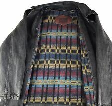 Vintage Woolrich  Black Denim Indian Blanket Lining Barn Coat Jacket Men's Sz L