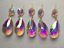 10PCS Clear AB Chandelier Crystal Lamp Part Glass Prism 38MM Pendant Drop Golden