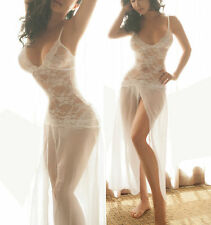 Sexy Deep Plunge Dance Evening Gown Long Lingerie White Dress Lace Mesh 8-10