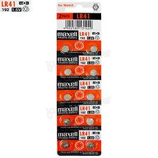 10 x Maxell Alkaline LR41 batteries 1.5V 192 AG3 392 192A L736 SR41 Pack of 2