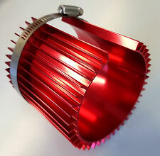 FINNED ALLOY OIL FILTER COOLER / HEAT SINK / COVER - RED or BLUE