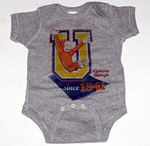 CURIOUS GEORGE PBS TV Baby Infant Toddler GRAY CLOTHING BODYSUIT 6 18 24 Mos