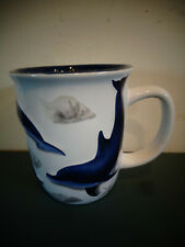Sea World Seaworld 3 D Raised Porpoise Dolphins w/ Sea Shells Mug