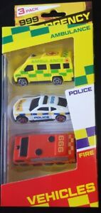Emergency Vehicle Toys Set Fire Service Police Car Ambulance New Fast Delivery