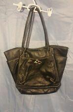 Nine West Handbag Purse Shopper Bag Black Faux Leather Silver Metal Logo