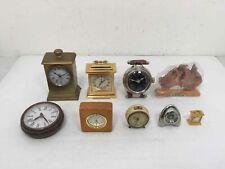 9 Assorted Shelf Mantle Clocks Roman Numeral & Numeric Face Displays Untested