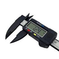 "150mm 6"" Digital Electronic Carbon Fiber Vernier Caliper Gauge Micrometer Black"