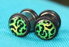 Fake Plug Piercing Leopard Grün Gelb Ohrring zum schrauben *neu*