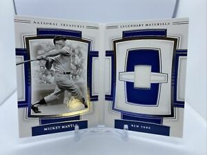 2020 National Treasures Mickey Mantle Game Worn Jersey Relic Booklet 42/99