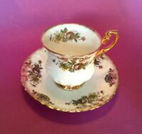 Royal Dover Teacup And Saucer - White & Gold With Pink & Yellow Tints - England