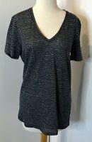 NWT Rag & Bone / Jean Black White Summer Striped Short Sleeve V-neck Top Size M