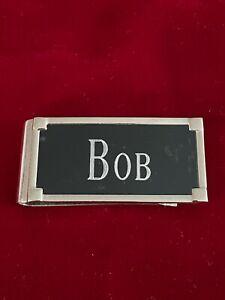 Silver Tone Black Face Engraved BOB Money Clip 2.25