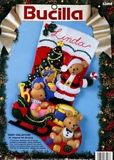"Bucilla Teddy Collection ~ 18"" Felt Christmas Stocking Kit #83008, Bears, Santa"