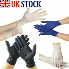 100 Disposable Black Blue Powder/Latex Free Rubber Gloves Nitrile PPE M L XL