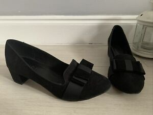 Office Black Suede Leather Low Heel Court Shoes Size 7