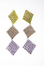For Love & Lemons Womens Casbah 3 Tier Stone Earrings Yellow Violet