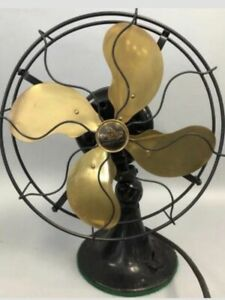 """Antique Emerson Electric Fan 12"""" Brass Blades #29646 Oscillates Very Good Works"""