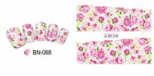 Nail Art Water Decals Stickers Transfers Wraps Pink Green Roses Flowers BN68