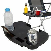 2x Clip On Table Tray Folding Relaxing Chair Drink Holder Fishing Camping Beach