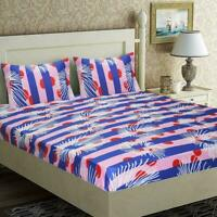 Indian Elegant Levaes Microfiber Double Bed Sheet with 2 Pillow Covers