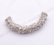 100pcs Czech Crystal Rhinestone Silver Rondelle Spacer Beads 8mm