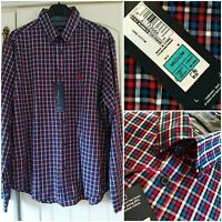 BNWT MARKS & SPENCER Men's Super Soft 100% Cotton SHIRT size M Red Blue Check