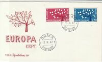 Italy 1962 Roma Cancel Europa CEPT Tree Slogan FDC Two Stamps Cover Ref 24648