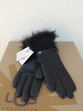 UGG TECH QUINN BLACK LEATHER/ TOSCANA FUR TOUCH SCREEN SMART GLOVES ~ L ~ NWT