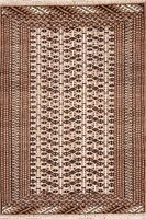 IVORY BROWN Geometric Bokhora Oriental Area Rug Wool Hand-Knotted Carpet 3'x4'