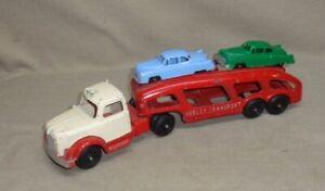 Vintage Hubley Car Transport Truck & 2 Cars