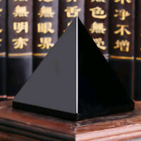 100% Black Obsidian Healing Pyramid Natural Mineral Triangled Crystal Point