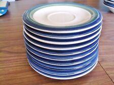 Pfaltzgraff OCEAN BREEZE, Set of 10 Green Teal Blue Rim Saucers - Very Nice