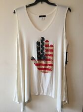 Ing Collection American Flag Plus Size 3X Blouse Top Shellwhite New Sleeveless