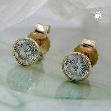 NEW 9K SOLID GOLD Zirconia Studs Earrings Round. 4mm. (430565)