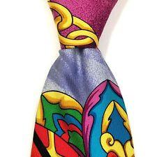 V2 By VERSACE Tie Chains Floral Tassel Braid Retro Silk Vintage Necktie Italy