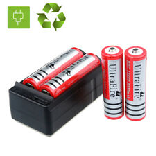 4PCS RED 3000mAH Li-ion 18650  Rechargeable Batteries + Dual Charger