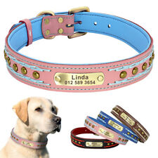 Rivet Leather Personalised Dog Collar Adjustable Medium Large Dog ID Name Collar