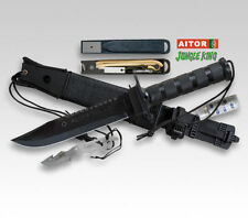 Aitor Jungle King i black Bushcraft viajes cuchillo con accesorios outdoor cuchillo