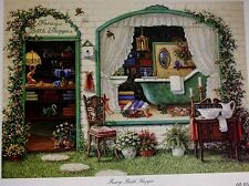 "Rare! #2517 "" Fancy Bath Shoppe "" Janet Kruskamp Print 16""x 12"""