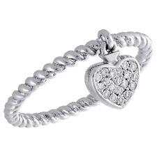 Braided Right Hand Ring 1/10 Ct. 10K White Gold Round Diamond Dangling Heart