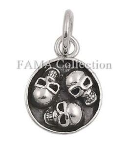 "Unique FAMA ""3 Skulls"" 925 Sterling Silver Skull Pendant"