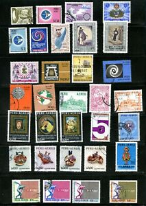 LOT 91972 COLLECTION OF SIXTY USED AIR MAIL STAMPS FROM PERU